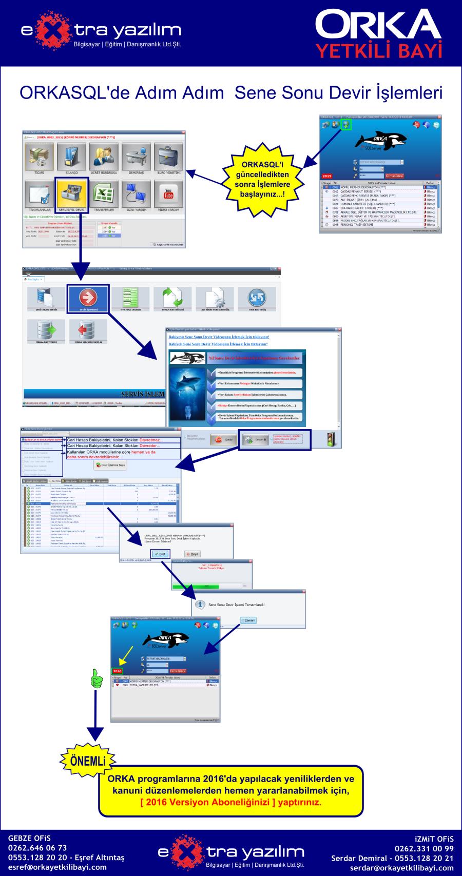 ORKASQL Adım Adım Sene Sonu Devir işlemleri